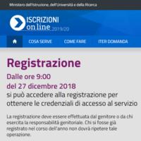 Sono partite le iscrizioni on line per il 2019-2020